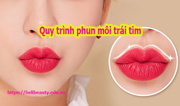 Quy trình phun môi trái tim – màu đỏ cam