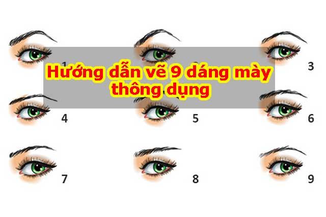 Hướng dẫn vẽ 9 dáng mày thông dụng